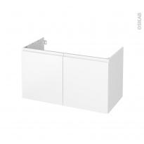 Meuble de salle de bains - Sous vasque - IPOMA Blanc mat - 2 portes - Côtés blancs - L100 x H57 x P50 cm