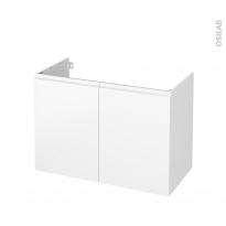 Meuble de salle de bains - Sous vasque - IPOMA Blanc mat - 2 portes - Côtés blancs - L100 x H70 x P50 cm