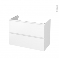 Meuble de salle de bains - Sous vasque - IPOMA Blanc mat - 2 tiroirs - Côtés blancs - L100 x H70 x P50 cm
