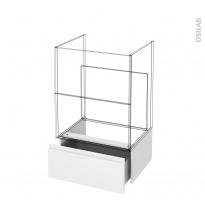 Tiroir sous meuble - Socle n°51 - IPOMA Blanc mat - pour meuble salle de bains - L60 x H26 x P45 cm