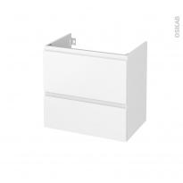 Meuble de salle de bains - Sous vasque - IPOMA Blanc mat - 2 tiroirs - Côtés décors - L60 x H57 x P40 cm