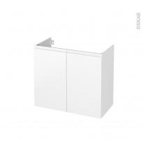 Meuble de salle de bains - Sous vasque - IPOMA Blanc mat - 2 portes - Côtés décors - L80 x H70 x P40 cm