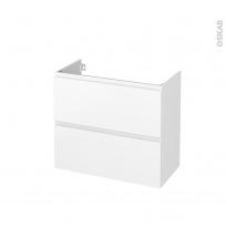 Meuble de salle de bains - Sous vasque - IPOMA Blanc mat - 2 tiroirs - Côtés décors - L80 x H70 x P40 cm