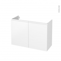 Meuble de salle de bains - Sous vasque - IPOMA Blanc mat - 2 portes - Côtés décors - L100 x H70 x P40 cm