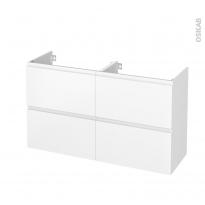 Meuble de salle de bains - Sous vasque double - IPOMA Blanc mat - 4 tiroirs - Côtés décors - L120 x H70 x P40 cm