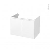 Meuble de salle de bains - Sous vasque - IPOMA Blanc mat - 2 portes - Côtés décors - L80 x H57 x P50 cm