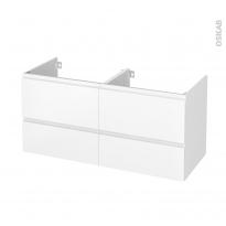 Meuble de salle de bains - Sous vasque double - IPOMA Blanc mat - 4 tiroirs - Côtés décors - L120 x H57 x P50 cm
