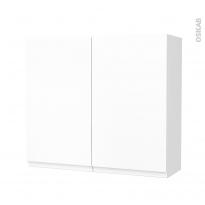 Armoire de salle de bains - Rangement haut - IPOMA Blanc mat - 2 portes - Côtés décors - L80 x H70 x P27 cm