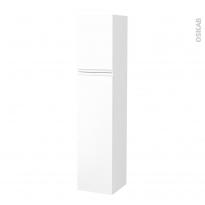 Colonne de salle de bains - 2 portes - IPOMA Blanc mat - Côtés décors - Version A - L40 x H182 x P40 cm