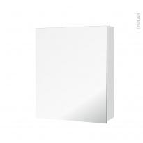 Armoire de toilette - Rangement haut - IPOMA Blanc mat - 1 porte miroir - Côtés décors - L60 x H70 x P17 cm