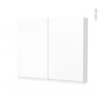 Armoire de toilette - Rangement haut - IPOMA Blanc mat - 2 portes - Côtés décors - L80 x H70 x P17 cm