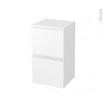 Meuble de salle de bains - Rangement bas - IPOMA Blanc mat - 2 tiroirs - L40 x H70 x P37 cm
