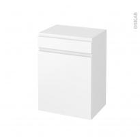 Meuble de salle de bains - Rangement bas - IPOMA Blanc mat - 1 porte 1 tiroir - L50 x H70 x P37 cm