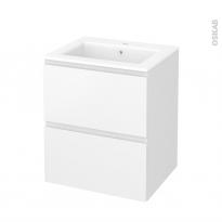 Meuble de salle de bains - Plan vasque NAJA - IPOMA Blanc mat - 2 tiroirs - Côtés décors - L60,5 x H71,5 x P50,5 cm