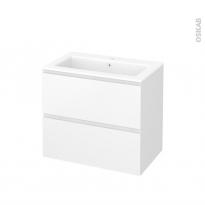 Meuble de salle de bains - Plan vasque NAJA - IPOMA Blanc mat - 2 tiroirs - Côtés décors - L80,5 x H71,5 x P50,5 cm
