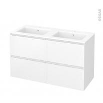 Meuble de salle de bains - Plan double vasque NAJA - IPOMA Blanc mat - 4 tiroirs - Côtés décors - L120,5 x H71,5 x P50,5 cm