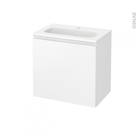Meuble de salle de bains - Plan vasque REZO - IPOMA Blanc mat - 1 porte - Côtés décors - L60,5 x H58,5 x P40,5 cm