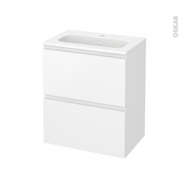Meuble de salle de bains - Plan vasque REZO - IPOMA Blanc mat - 2 tiroirs - Côtés décors - L60,5 x H71,5 x P40,5 cm