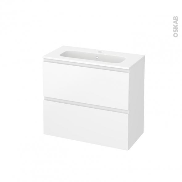 Meuble de salle de bains - Plan vasque REZO - IPOMA Blanc mat - 2 tiroirs - Côtés décors - L80,5 x H71,5 x P40,5 cm