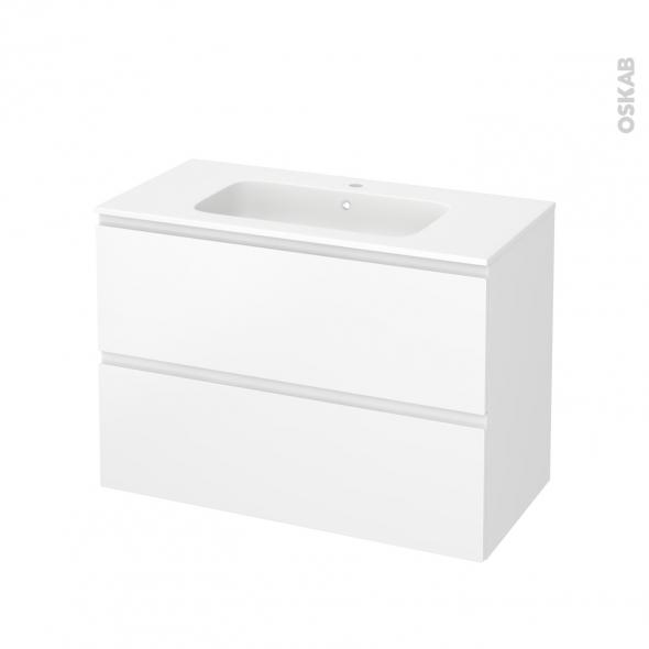 Meuble de salle de bains - Plan vasque REZO - IPOMA Blanc mat - 2 tiroirs - Côtés décors - L100,5 x H71,5 x P50,5 cm