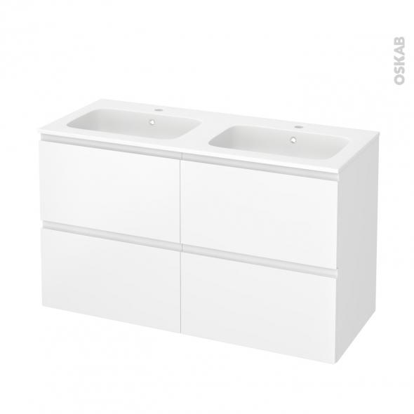 Meuble de salle de bains - Plan double vasque REZO - IPOMA Blanc mat - 4 tiroirs - Côtés décors - L120,5 x H71,5 x P50,5 cm