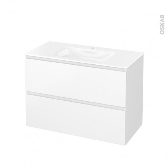Meuble de salle de bains - Plan vasque VALA - IPOMA Blanc mat - 2 tiroirs - Côtés décors - L100,5 x H71,2 x P50,5 cm