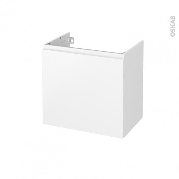 Meuble de salle de bains - Sous vasque - IPOMA Blanc mat - 1 porte - Côtés blancs - L60 x H57 x P40 cm