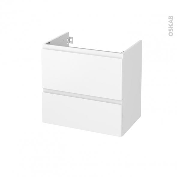 Meuble de salle de bains - Sous vasque - IPOMA Blanc mat - 2 tiroirs - Côtés blancs - L60 x H57 x P40 cm