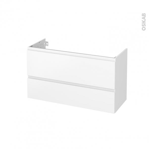 Meuble de salle de bains - Sous vasque - IPOMA Blanc mat - 2 tiroirs - Côtés blancs - L100 x H57 x P40 cm