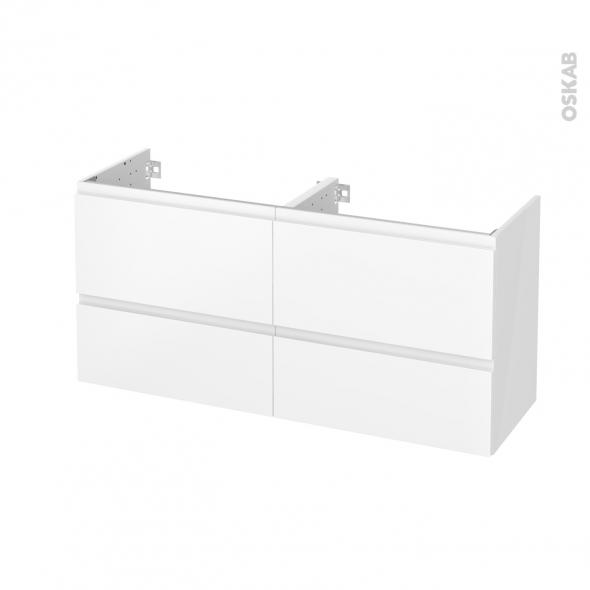 Meuble de salle de bains - Sous vasque double - IPOMA Blanc mat - 4 tiroirs - Côtés blancs - L120 x H57 x P40 cm