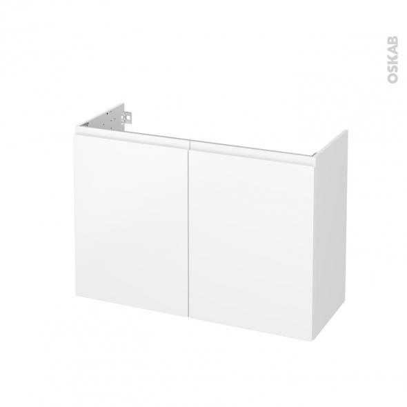 Meuble de salle de bains - Sous vasque - IPOMA Blanc mat - 2 portes - Côtés blancs - L100 x H70 x P40 cm