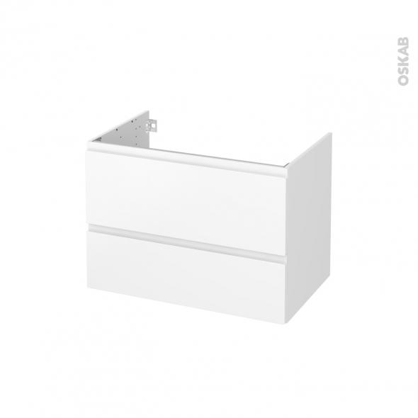 Meuble de salle de bains - Sous vasque - IPOMA Blanc mat - 2 tiroirs - Côtés blancs - L80 x H57 x P50 cm