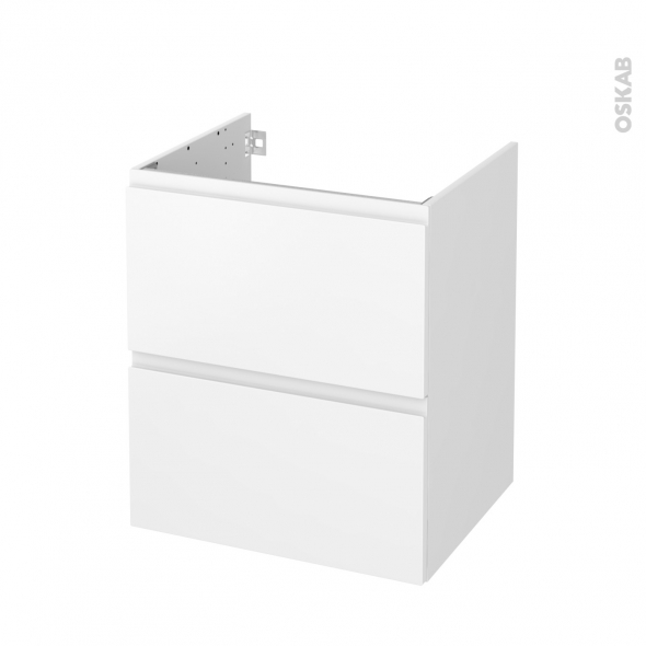 Meuble de salle de bains - Sous vasque - IPOMA Blanc mat - 2 tiroirs - Côtés blancs - L60 x H70 x P50 cm