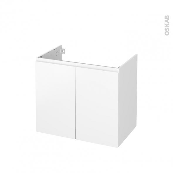 Meuble de salle de bains - Sous vasque - IPOMA Blanc mat - 2 portes - Côtés blancs - L80 x H70 x P50 cm