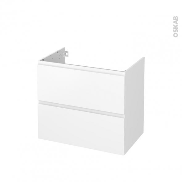 Meuble de salle de bains - Sous vasque - IPOMA Blanc mat - 2 tiroirs - Côtés blancs - L80 x H70 x P50 cm