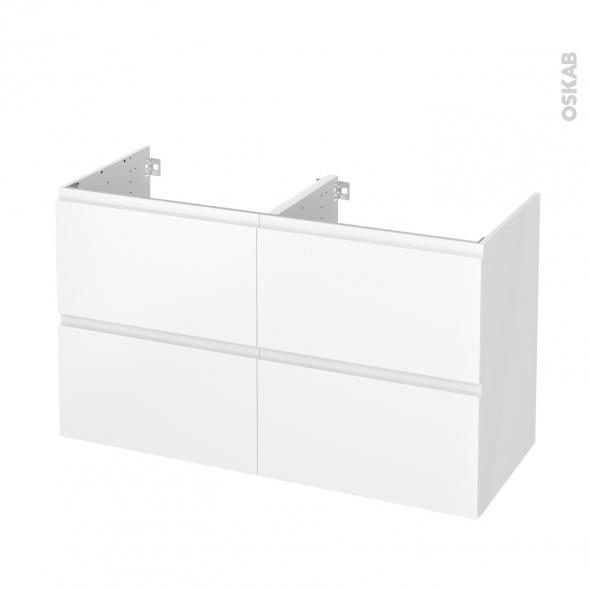 Meuble de salle de bains - Sous vasque double - IPOMA Blanc mat - 4 tiroirs - Côtés blancs - L120 x H70 x P50 cm