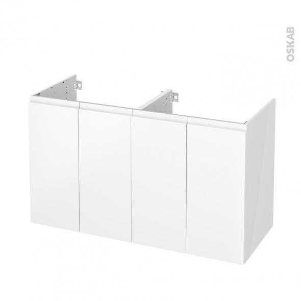 Meuble de salle de bains - Sous vasque double - IPOMA Blanc mat - 4 portes - Côtés blancs - L120 x H70 x P50 cm