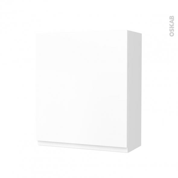 Armoire de salle de bains - Rangement haut - IPOMA Blanc mat - 1 porte - Côtés blancs - L60 x H70 x P27 cm