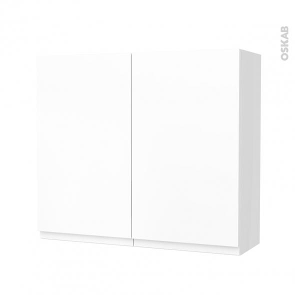 Armoire de salle de bains - Rangement haut - IPOMA Blanc mat - 2 portes - Côtés blancs - L80 x H70 x P27 cm
