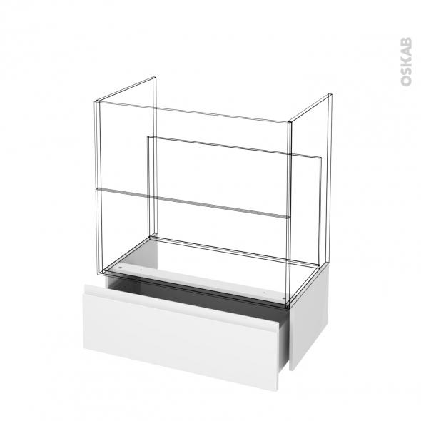 Tiroir sous meuble - Socle n°101 - IPOMA Blanc mat - pour meuble salle de bains - L80 x H26 x P45 cm