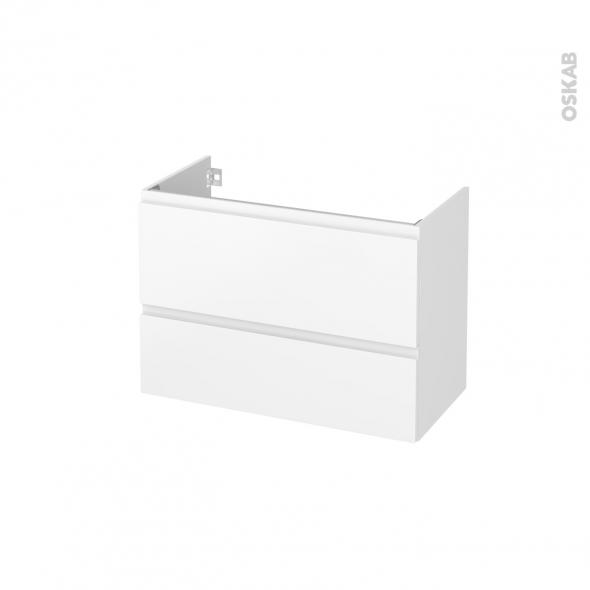 Meuble de salle de bains - Sous vasque - IPOMA Blanc mat - 2 tiroirs - Côtés décors - L80 x H57 x P40 cm