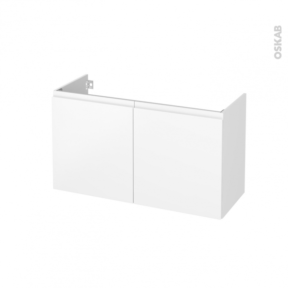 Meuble de salle de bains - Sous vasque - IPOMA Blanc mat - 2 portes - Côtés décors - L100 x H57 x P40 cm