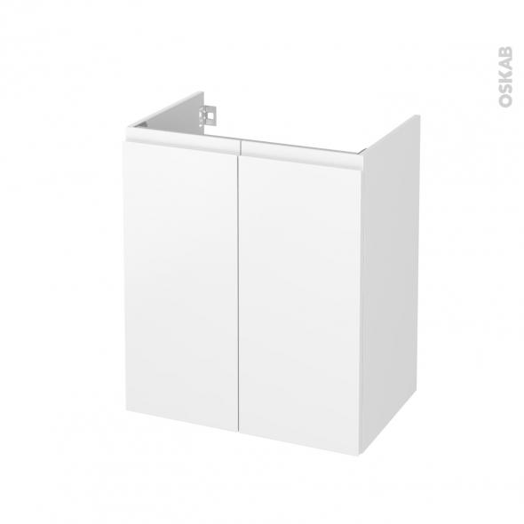 Meuble de salle de bains - Sous vasque - IPOMA Blanc mat - 2 portes - Côtés décors - L60 x H70 x P40 cm