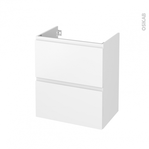 Meuble de salle de bains - Sous vasque - IPOMA Blanc mat - 2 tiroirs - Côtés décors - L60 x H70 x P40 cm