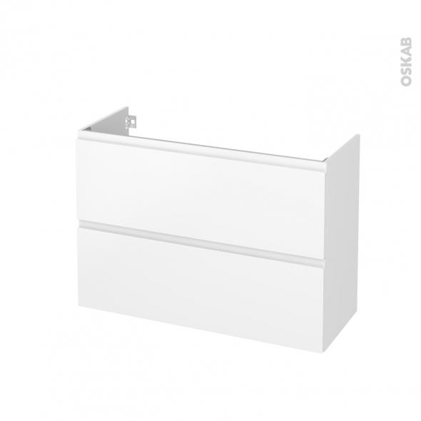 Meuble de salle de bains - Sous vasque - IPOMA Blanc mat - 2 tiroirs - Côtés décors - L100 x H70 x P40 cm