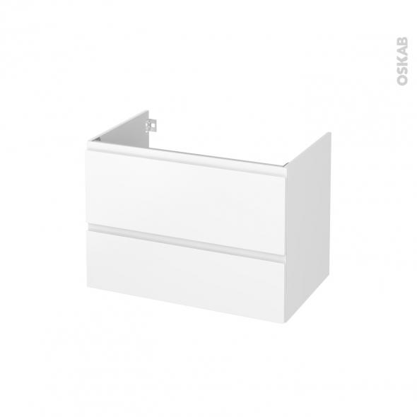 Meuble de salle de bains - Sous vasque - IPOMA Blanc mat - 2 tiroirs - Côtés décors - L80 x H57 x P50 cm
