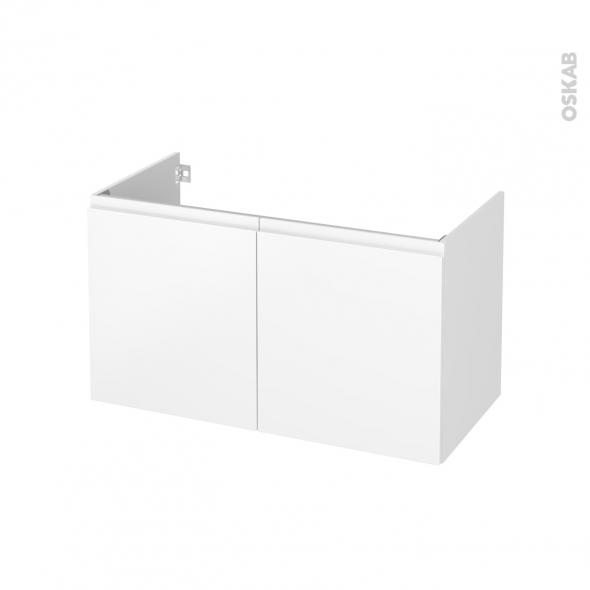 Meuble de salle de bains - Sous vasque - IPOMA Blanc mat - 2 portes - Côtés décors - L100 x H57 x P50 cm