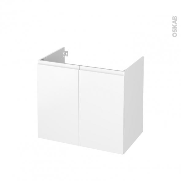 Meuble de salle de bains - Sous vasque - IPOMA Blanc mat - 2 portes - Côtés décors - L80 x H70 x P50 cm