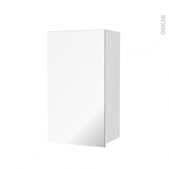 Armoire de salle de bains - Rangement haut - IPOMA Blanc mat - 1 porte miroir - Côtés décors - L40 x H70 x P27 cm
