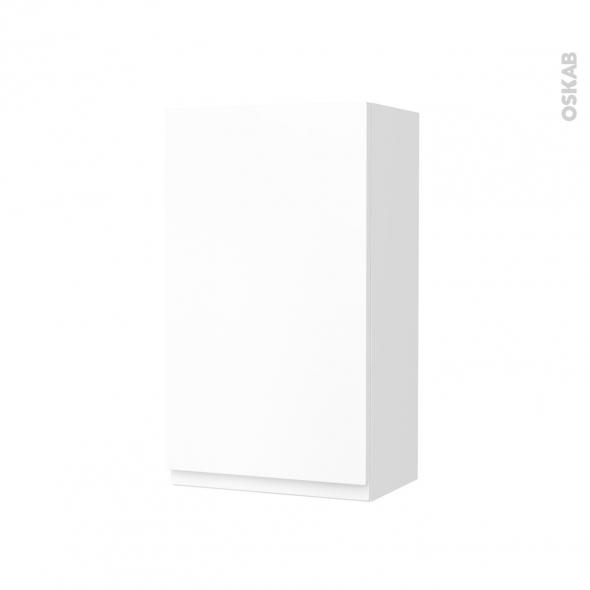 Armoire de salle de bains - Rangement haut - IPOMA Blanc mat - 1 porte - Côtés décors - L40 x H70 x P27 cm